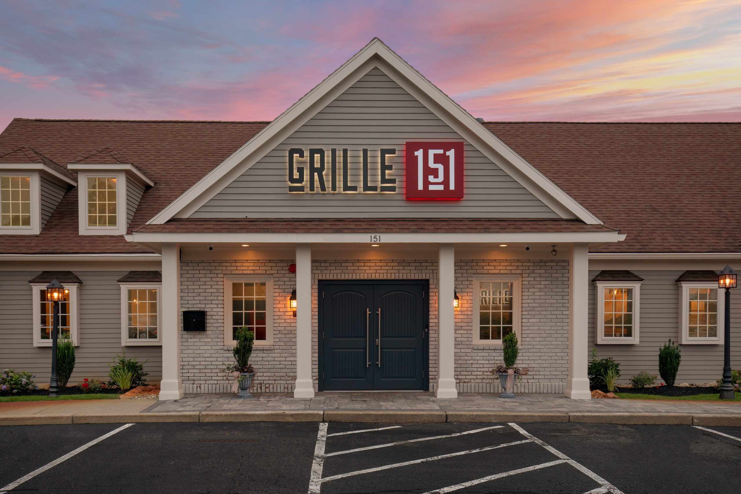 Grille 151 outside at twilight